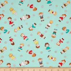 Dreaming Doll Toss Aqua Fabric