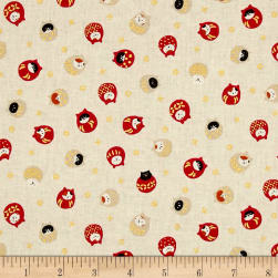 Coneco Matryoka Cats Metallic Cream Fabric