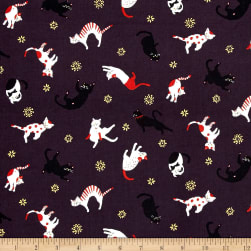 Coneco Matryoka Tossed Cats Metallic Plum Fabric
