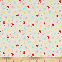 Lecien Minny Muu Bunnies White Fabric