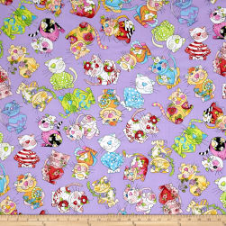 Loralie Designs Calico Cats Toss Purple Fabric