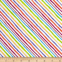 Loralie Designs Calico Cats Bias Stripe White Fabric