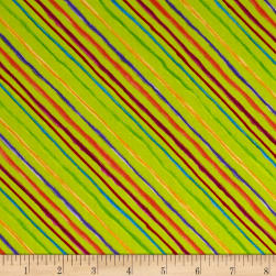 Loralie Designs Calico Cats Bias Stripe Lime Fabric