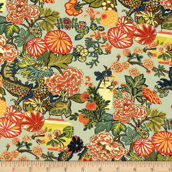 Schumacher Chiang Mai Dragon 100% Linen Aquamarine Fabric