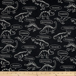 Kokka Trefle Ecole Big Dinosaur Oxford Gray Fabric