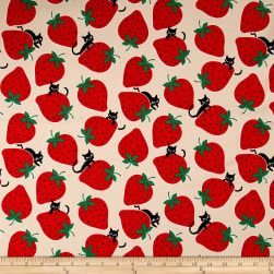 Kokka Trefle Ecole Big Strawberry Cats Oxford Natural