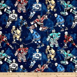 QT Fabrics Face Off Hockey Players Navy Fabric