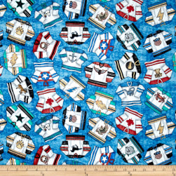 QT Fabrics Face Off Hockey Jerseys Blue Fabric