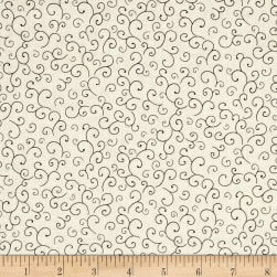 QT Fabrics Harrison Park Scroll Beige/Black Fabric