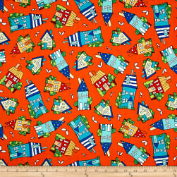 House On The Hill Tossed Houses Orange Fabric