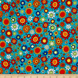 House On The Hill Flowers Turquoise Fabric