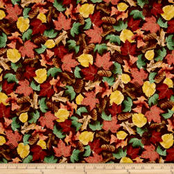 QT Fabrics North Woods Leaves & Pinecones Brown