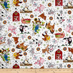 QT Fabrics Patchwork Farms Tossed Animals White Fabric