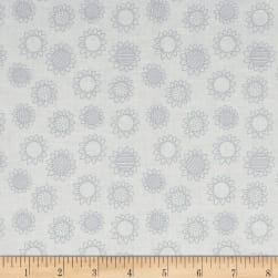 QT Fabrics Patchwork Farms Sunflower Linework White Fabric