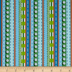 QT Fabrics Patchwork Farms Decorative Stripe Blue Fabric