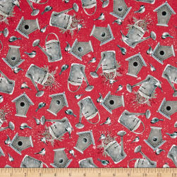 Winter Garden Birdhouses & Watering Cans Red Fabric