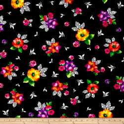 Quilting Treasures Brooke Large Tossed Floral Black Fabric