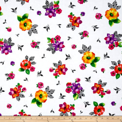 Quilting Treasures Brooke Large Tossed Floral White