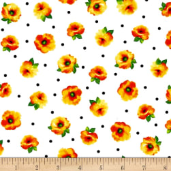 Quilting Treasures Brooke Small Tossed Floral White/Orange Fabric