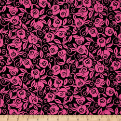 Quilting Treasures Brooke Floral Scroll Black/Fuchsia