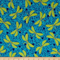 Ink & Arrow Hayden Dragonflies Blue Fabric