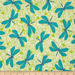 Ink & Arrow Hayden Dragonflies Cream Fabric