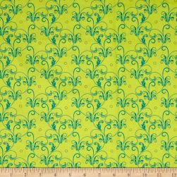Ink & Arrow Hayden Scroll Light Green Fabric