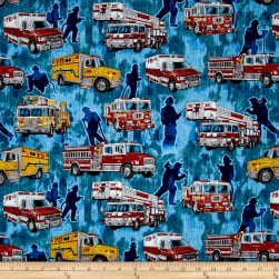 Quilting Treasures 5 Alarm Firetrucks Blue Fabric