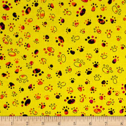 Party Animals Paw Prints Yellow Fabric