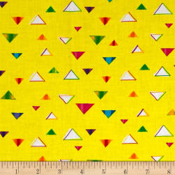 QT Fabrics Party Animals Triangles Yellow Fabric