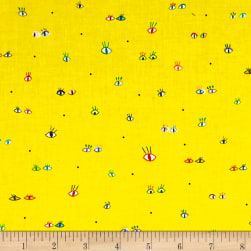 Party Animals Eyes Light Yellow Fabric