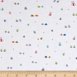 QT Fabrics Party Animals Eyes White Fabric