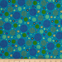 Ink & Arrow Ashtyn Dotted Circles Teal Fabric