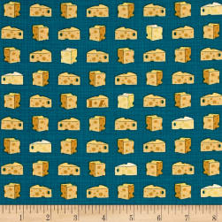 Ink & Arrow Say Cheese Cheese Teal Fabric