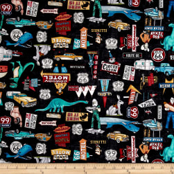 Quilting Treasures Motorin' Roadside Attractions Black Fabric