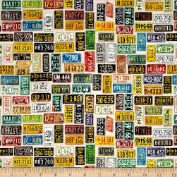 Quilting Treasures Motorin' License Plates Eggshell Fabric