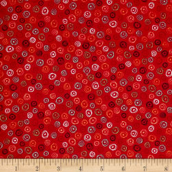 Quilting Treasures Love Grows Here Circle Geo Red