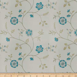 Trend 04255 Faux Silk Turquoise Ivory Fabric