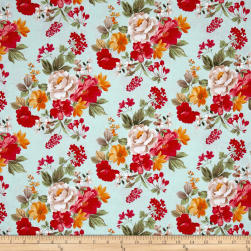 Penny Rose Farmhouse Floral Main Blue Fabric