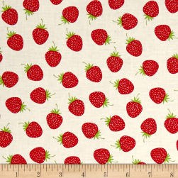 Riley Blake Butterflies & Berries Butterflies Strawberries White