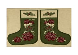 Holiday Joy Jacquard Easy Sew Stocking Panel Poinsettia 27'' X 18.8'' Fabric