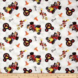 Disney Mickey & Friends Winner's Circle White Fabric