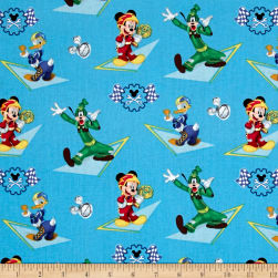 Disney Mickey & Friends Racing Blue Fabric
