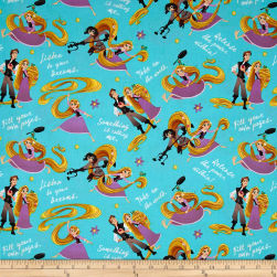 Disney Tangled Rupunzel And Friends Teal Fabric