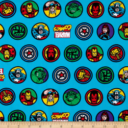 Marvel Comic Retro Badge Jersey Knit Blue Fabric