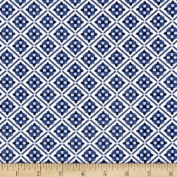 Riley Blake Blue Carolina Tile White Fabric