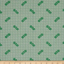 Penny Rose Sorbet Spots on Grid Green Fabric