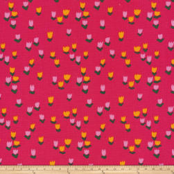 Cloud 9 Organic Gather Tulip Patch Pink Fabric
