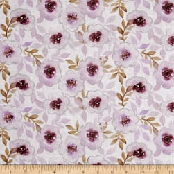 Cherish Floral Purple LT Gray Fabric