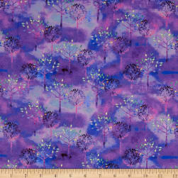 Color Splash Trees Purple Fabric
